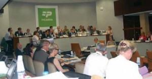 Pendant l'examen du budget supplémentaire au conseil régional.