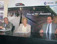 (de g. à d.) Jean-Louis Bourgeois pour l'Agglo du Beauvaisis, Caroline Cayeux pour la ville de Beauvais et Philippe Enjolras pour la CCIT de l'Oise : tous mobilisés sur le projet de TGV.