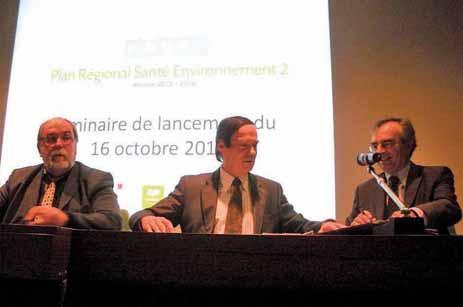 Didier Cardon, Jean-François Cordet et Christian Dubosq ont signé le Plan régional santé environnement 2 avant l'ouverture du séminaire.