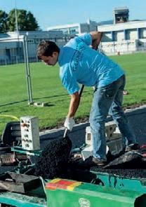 Technisol, spécialiste du revêtement de sols sportifs a mis au point un prototype de piste d'athlétisme en pneus recyclés.