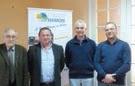 Pierre Fenot, maire d'Athies, Pierre Fenot, Alain Marguin, directeur de Terre de France et Francis Boitel, exploitant agricole et vice-président chargé du développement économique.