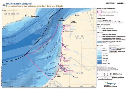 Carte du périmètre du Parc naturel marin des estuaires picards et de la mer d'Opale
