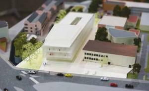 La maquette du futur hub qui comprendra une rue interne et un parking.