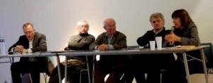 Yves Lecointre, directeur du Fracpicardie, Alain Barré, directeur du Frac Ilede- France, Roland Rappaport, avocat, Bernard Moninot, plasticien et Anne Tronche, critique d'art contemporain, ont animé la table ronde.