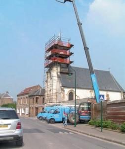 Une des spécialités de l'entreprise : la restauration de clochers d'église.