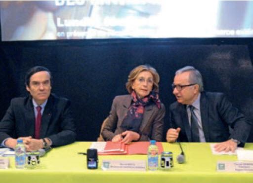Jean-François Cordet, Préfet de région, Nicole Bricq, ministre du Commerce extérieur et Claude Gewerc, président du conseil régional.