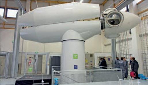 Le rotor d'une nacelle dans l'atelier.