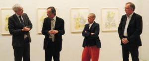 Luc Doublet, président du Frac, Bernard Devauchelle, animateur du Cercle des mécènes et Yves Lecointre, directeur du Frac Picardie, ont accueilli Hélène Delprat pour la présentation de son oeuvre.