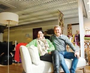 Isabelle et Christophe Descombes dans leur magasin, rue Gresset à Amiens.
