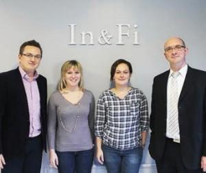 L'équipe de l'agence In&Fi de Laon, de gauche à droite : Guillaume Bazile, Alice Berger, Céline Wairy et Frédéric Fraeye.
