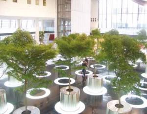 Le hall principal d'orientation comprend une boutique, une cafétéria et une maison des usagers regroupant les associations de patients.