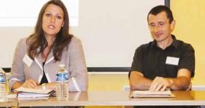 À gauche, la présidente, Audrey Bobeuf, à droite, Fabrice Quiot de l'Inéris.