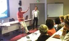 Jean-Yves Duprat, enseignant au collège Jacques Monod à Compiègne, partage avec les enseignants présents son expérience de l'entreprise.