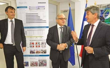 Franck Courcelle, directeur général de Faiveley Transport Amiens accueille Claude Gewerc, président du conseil régional et Philippe de Fontaine, viceprésident de la BEI.