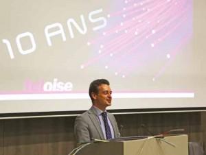 Pascal Gravier, directeur général de Teloise, lors de la célébration des dix ans du réseau, à Chaumont-en-Vexin, au domaine de Rebetz.