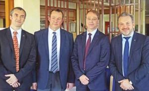 De g. à dr. : Emmanuel Cohardy, président de la CGPME Aisne, Philippe Morin, président de la FFB Oise, François Asselin, président de la CGPME au niveau national, et Charles Locquet, président de la CGPME Oise.