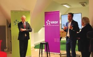 Lors de la présentation du concours : Daniel Grimbert, directeur régional d'ERDF, et Frédéric Lajoux, directeur territorial-Somme.