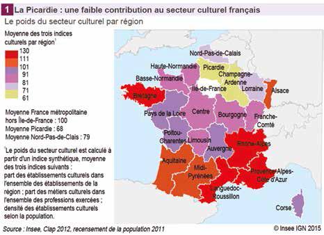 La Picardie : une faible contribution au secteur culturel français » (source : Insee, Clap 2011). recensement de la population 2011)