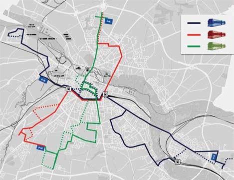 Les tracés cumulés des trois lignes de BHNS représentent plus de 44 kilomètres.
