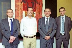 Les quatre associés du cabinet (de g. à d.) : Olivier Gayot, Jean-Baptiste Guerreau, Jacques Roffé et Alexandre Ziarkowski.