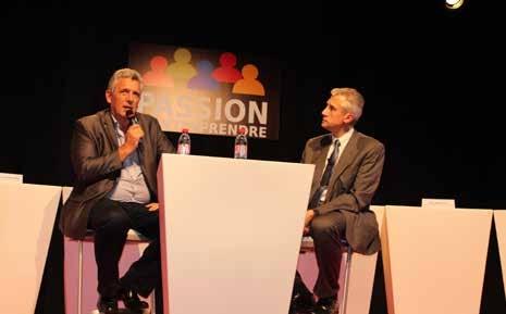 C'est sur le mode d'un échange avec Jean-Marc Lehu (à d.) que Claude Onesta (à g.) a expliqué sa vision du management.