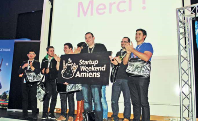 Les vainqueurs du premier Startup Week-end Amiens : l'équipe du projet Alvéolait